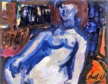 "P20 - ""Nude"" by Victor Thall 7 x 9 inches Mixed Media on Paper"