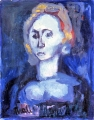 "P23 - ""Blue Woman"" by Victor Thall 8 x 10 inches Oil on Paper"