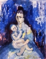 "P28 - ""Mother and Child"" by Victor Thall 11 x 14 inches Oil on Paper"
