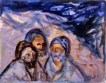 "P32 - ""Three Arabs"" by Victor Thall 8 x 11 inches Mixed Media on Paper"