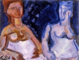 "P35 - ""Two Nudes"" by Victor Thall 8.5 x 11 inches Oil on Paper"