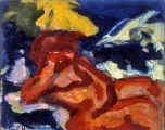 "P79 - ""The Bather"" by Victor Thall 10 x 12.5 inches Oil on Paper"