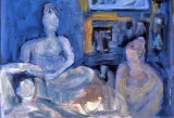 "P82 - ""Three Women"" by Victor Thall 8 x 11 inches Oil on Paper"