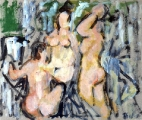 "P89 - ""The Bathers"" by Victor Thall 14 x 17 inches Oil on Paper"