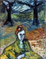 "P93 - ""Mona at Snow Creek"" by Victor Thall 10 x 13 inches Oil on Paper"