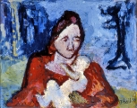 "P96 - ""Peasant Mother & Child"" by Victor Thall 10 x 13 inches Oil on Paper"