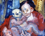 "P110 - ""Grandmother with Baby"" by Victor Thall 20 x 24 inches Oil on Paper"