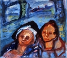 "P115 - ""Two Heads"" by Victor Thall 14 x 20.5 inches Oil on Paper"