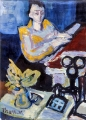 "P127 - ""Woman at Piano"" by Victor Thall 8 x 11 inches Oil on Paper"