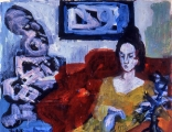 "P134 - ""Red Couch"" by Victor Thall 14 x 17 inches Oil on Paper"