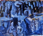"P136 - ""Blue Lagoon"" by Victor Thall 14 x 17 inches Oil on Paper"