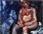 "P140 - ""Seated Nude"" by Victor Thall 17 x 21 inches Oil on Paper"
