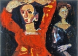 "P146 - ""Carmen & Duena"" by Victor Thall 16 x 22 inches Oil on Paper"