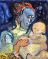 "P150 - ""Mother and Child"" by Victor Thall 20 x 24 inches Oil on Paper"