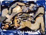 "P157 - ""Two Nudes"" by Victor Thall 14 x 17 inches Acrylic on Paper"