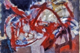 "P161 - ""Red Abstraction"" by Victor Thall 23 x 30 inches Oil on Paper"