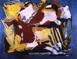 "001 - ""Abstraction in Yellow"" by Victor Thall, 40 x 48 inches, Oil on Masonite"