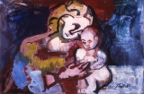 "049 - ""Mother and Child"" by Victor Thall 24 x 36 inches Oil on Masonite"