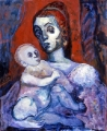 "052 - ""Mother and Child"" by Victor Thall 24 x 30 inches Oil on Masonite"