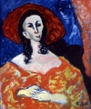 "054 - ""Lady in Red"" by Victor Thall 24 x 30 inches Oil on Masonite"