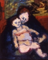 "062 - ""Mother and Child"" by Victor Thall 24 x 30 inches Oil on Canvas"