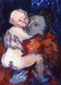 "065 - ""Motherly Embrace (Mother & Child)"" by Victor Thall 22 x 28 inches Oil on Canvas Board"