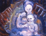 "066 - ""Mother and Child"" by Victor Thall 20 x 24 inches Oil on Masonite"