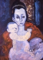 "071 - ""Mother and Child"" by Victor Thall 18 x 24 inches Oil on Masonite"