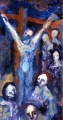 "080 - ""Crucifixion"" by Victor Thall 12 x 24 inches Oil on Masonite"